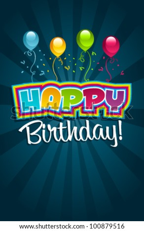 Vector happy birthday greeting card.