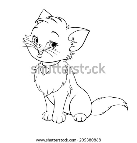 Vector Happy Cute Fun Kitten Cartoon Smiling Character Cat Line Art Coloring Book Black And White
