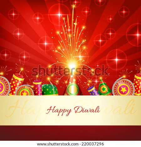 Vector happy diwali crackers background - stock vector