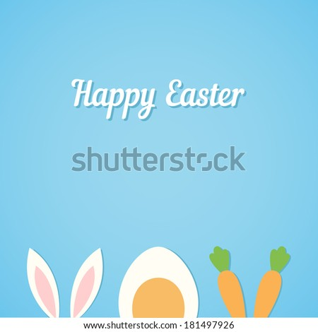 Vector Happy Easter card background with minimal flat rabbit ears, boiled egg and fresh carrot - symbols of Easter - stock vector