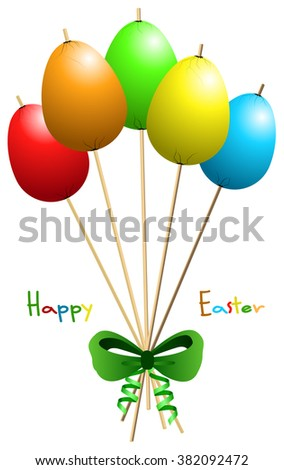 Vector Happy Easter colored eggs tapped at wooden sticks