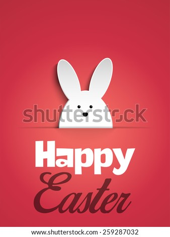 Vector - Happy Easter Rabbit Bunny on Pink Background - stock vector