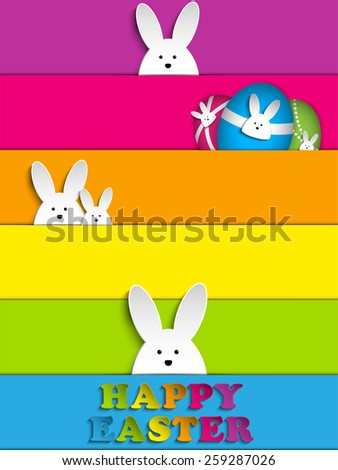 Vector - Happy Easter Rabbit Bunny on Rainbow Background - stock vector