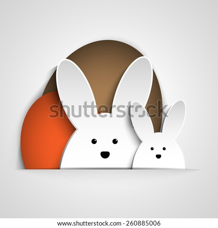 Vector - Happy Easter Rabbit Bunny on White Background - stock vector