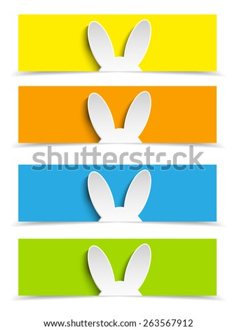 Vector - Happy Easter Rabbit Bunny Set of Banners - stock vector