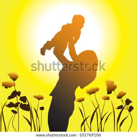 vector happy family mother and child - stock vector