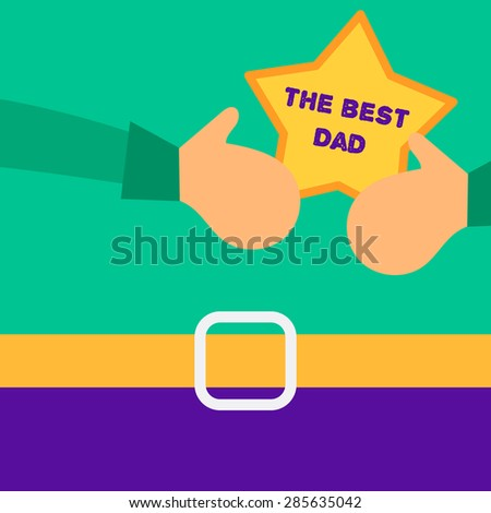 Vector Happy Father's Day concept with happy father and his gift - stock vector