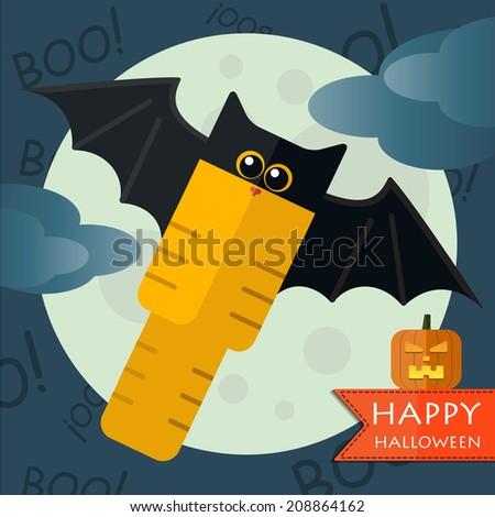 Vector happy halloween bat-cat front moon with pumpkin. Eps 10 - stock vector