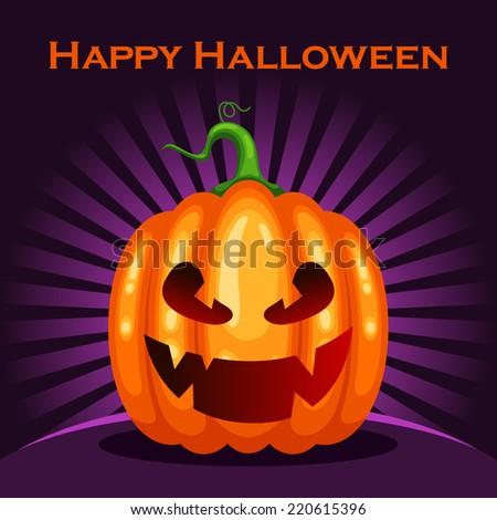 Vector Happy Halloween card with cartoon pumpkin character - stock vector