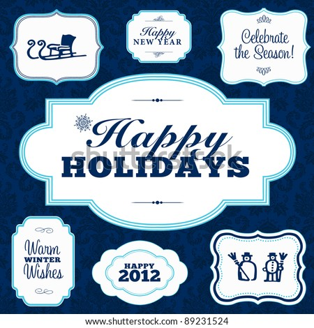 Vector Happy Holidays Frame Set. Easy to edit. Perfect for invitations or announcements. - stock vector