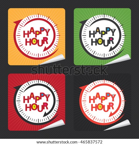 Vector : Happy Hour Campaign Promotion on Square Peeling Sticker