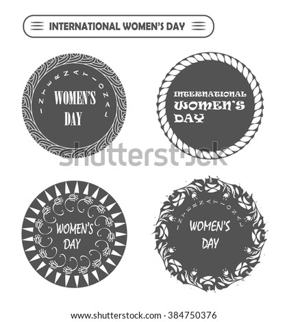Vector Happy international Women's Day labels for site, card, stamp - stock vector