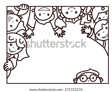 Vector  happy kids cartoons  frame, black silhouettes. - stock vector