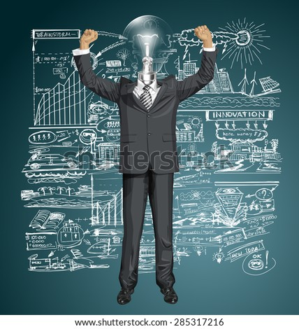Vector happy lamp head businessman with hands up, celebrating his victory - stock vector