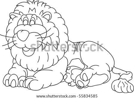 vector - happy lion lying, isolated on background