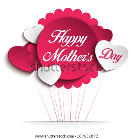 Vector - Happy Mother Day Heart Background - stock vector