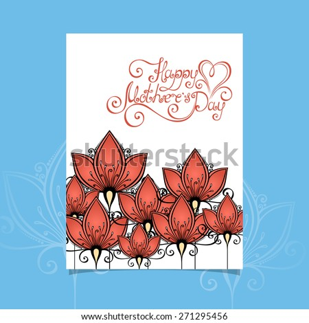 Vector Happy Mothers's Day Greeting Card with Flowers, Hand Drawn Holiday Lettering. Ornate Vintage Lettering - stock vector