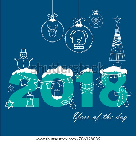 vector happy new year 2018 christmas stock vector royalty free