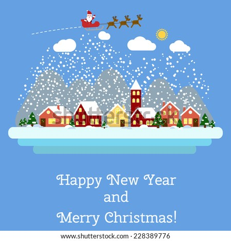 Vector  Happy New Year and Merry Christmas greeting card with winter landscape. EPS 10 - stock vector