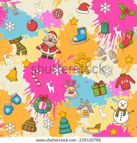 Vector Happy New Year and Merry Christmas pattern,with Santa Claus,snowman,Christmas tree,candy, house, ice skates,snowflake,gift, candle, Christmas wreath, Christmas toys, mittens, hat, scarf,deer - stock vector