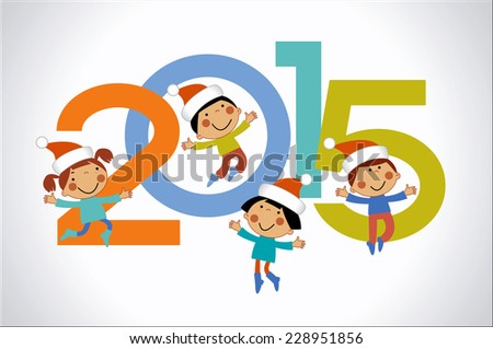 Vector 2015 Happy New Year background . Cartoon children and numbers. - stock vector