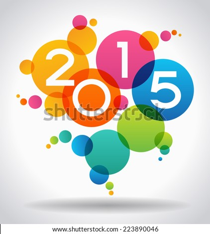 Vector 2015 Happy New Year background.  The file is saved in the version AI10 EPS. This image contains transparency - stock vector