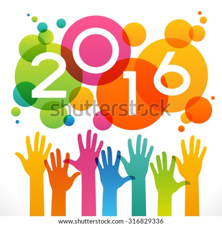 Vector 2016 Happy New Year background.  The file is saved in the version 10 EPS. This image contains transparency. - stock vector