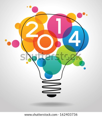 Vector 2014 Happy New Year background with bulb.  The file is saved in the version AI10 EPS. This image contains transparency. - stock vector
