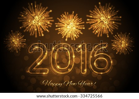 Vector Happy New Year 2016 background with fireworks - stock vector