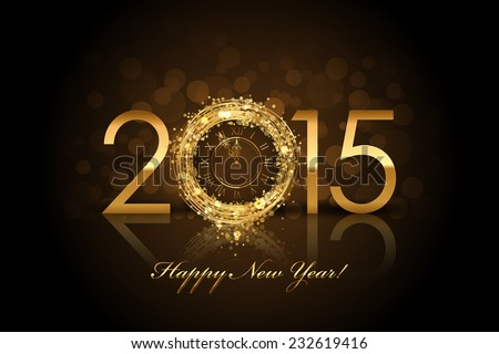 Vector 2015 Happy New Year background with gold clock - stock vector