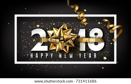 Vector 2018 Happy New Year background with golden gift bow