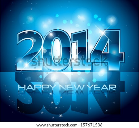 Vector Happy New Year 2014 blue colorful background eps 10 - stock vector