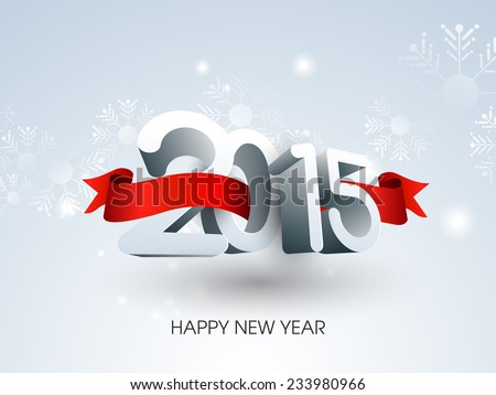 Vector Happy New year 2015 celebration design with Stylish 3d text. - stock vector
