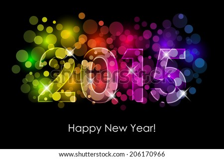 Vector Happy New Year - 2015 colorful background - stock vector