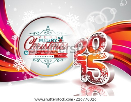 Vector Happy New Year 2015 colorful celebration background. EPS 10 illustration. - stock vector