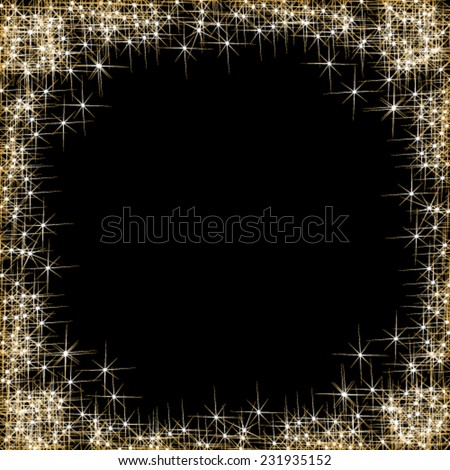 Vector happy New Year, frame with golden stars on the black background - stock vector