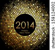 Vector - Happy New Year 2014 - gold disco lights frame - stock