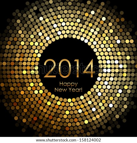 Vector - Happy New Year 2014 - gold disco lights frame - stock vector