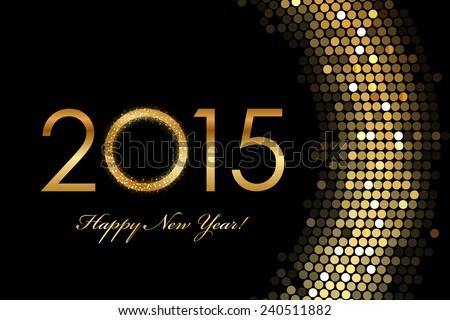 Vector - 2015 Happy New Year golden glowing - stock vector
