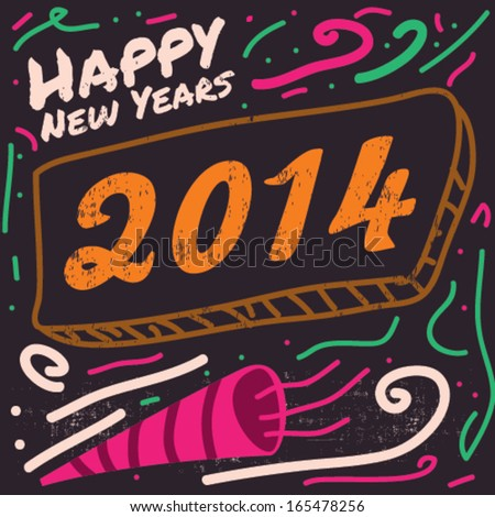 Vector Happy New Year 2014 Illustration - stock vector