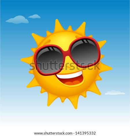 vector happy sun cartoon in blue sky - Separate layers for easy editing - stock vector