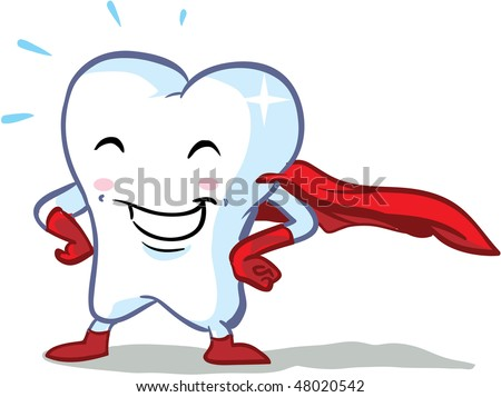 vector happy superhero healthy tooth illustration - part of a series! - stock vector