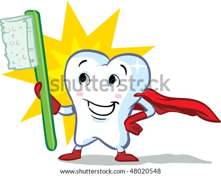 vector happy superhero healthy tooth, with toothbrush illustration - part of a series! - stock vector