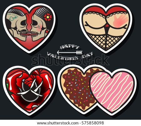 Vector happy valentines day stickers set stock vector for Valentine s day tattoos