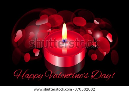 "Vector ""Happy Valentines Day"" card with red candle - stock vector"