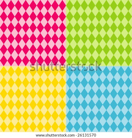 vector - Harlequin Pattern Seamless Tiles: diamond shapes in bright colors. EPS8 includes 4 pattern swatches (tiles) that will seamlessly fill any shape. - stock vector