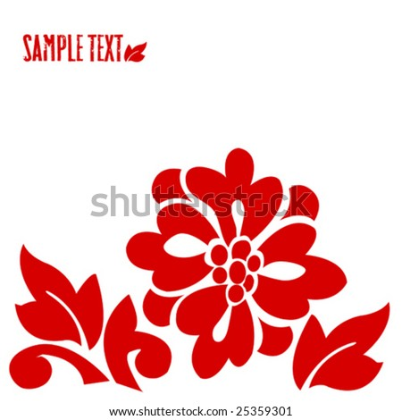 Vector hawaiian style bright red flower - stock vector