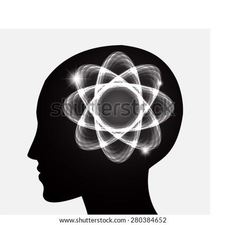 vector Head atom icon. black atom molecule science symbol brain scientific mind thinker. silhouette. infographics. - stock vector