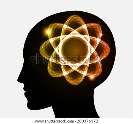 vector Head atom icon. dark orange atom molecule science symbol brain scientific mind thinker. silhouette. infographics. - stock vector