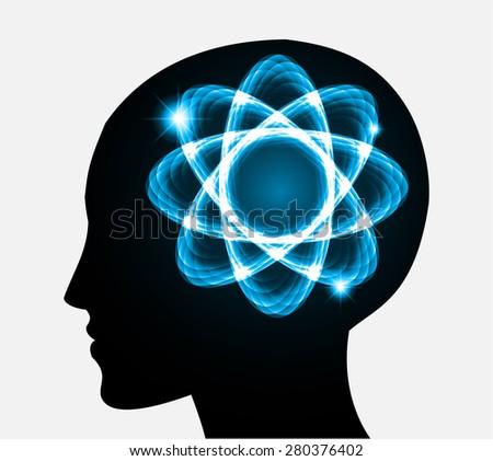 vector Head atom icon. yellow blue atom molecule science symbol brain scientific mind thinker. silhouette. infographics. - stock vector